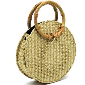 Straw Circle 2-in-1 Bamboo Handle Bag